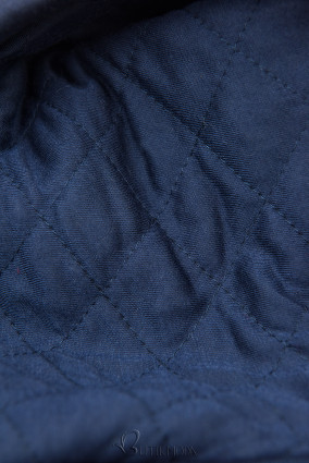 Verlängerte Sweatjacke mit gesteppte Kapuze dunkelblau