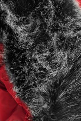 Steppjacke für Winter mit Kunstpelz rot
