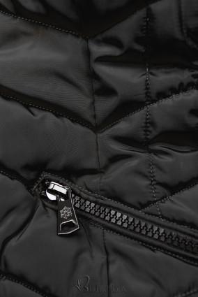 Steppjacke für Winter mit Kunstpelz schwarz