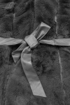 Weiche Weste mit Kunstfell grau