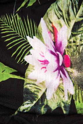 Verlängerte Kapuzenjacke mit Blumen-Optik grau