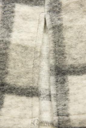 Hemdjacke in Maxilänge grau/weiß