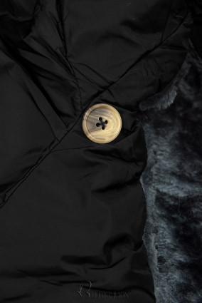 Winterjacke mit hohem Kragen schwarz
