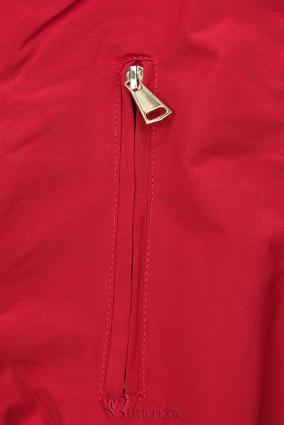 Leichter Parka mit abnehmbarer Kapuze rot/grau