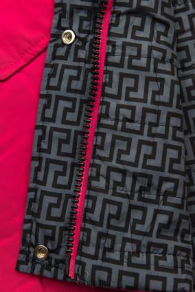 Leichter Parka mit abnehmbarer Kapuze pink/grau