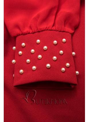 Kleid mit Perlen-Verzierung am Ärmel rot