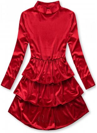 Kleid in Samt-Optik rot