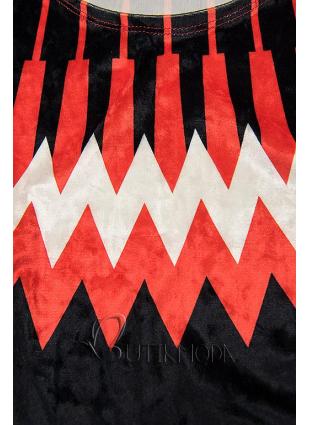Velourskleid dunkelblau/rot