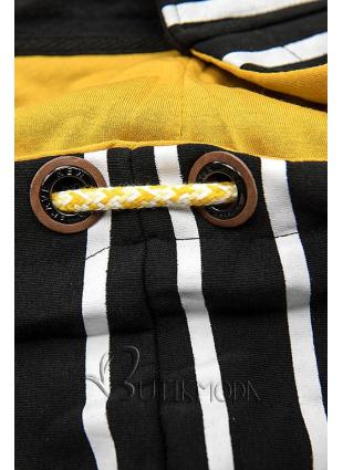 Kapuzenjacke in Streifenoptik schwarz/gelb