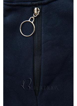 Sweatshirt/Sweatkleid mit Kapuze dunkelblau