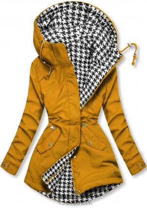 Jacke mit Kapuze Gelb/Hahnentrittmuster