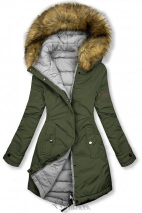 Jacke auf beiden Seiten tragbar khaki/grau