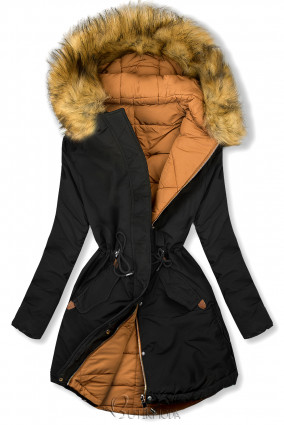 Winterjacke von LHD schwarz/karamell