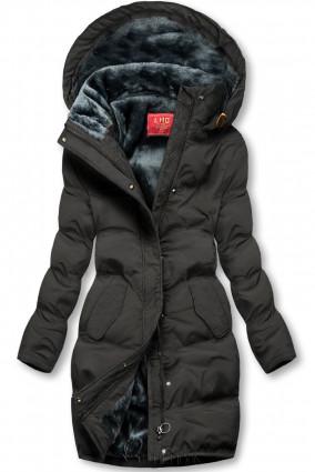 Winterjacke mit kuscheliger Teddy Fleece schwarz