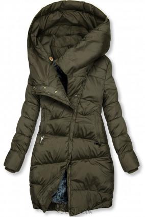 Winterjacke mit hohem Kragen khaki