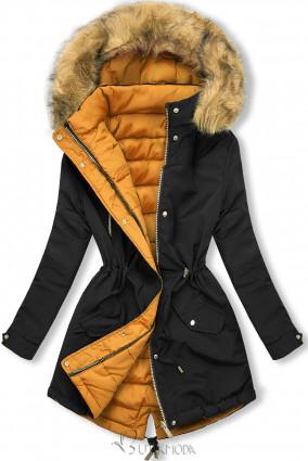 Winter Parkajacke mit Wendemöglichkeit schwarz/karamell