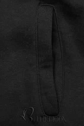 Verlängerte Kapuzenjacke mit Blumen-Optik schwarz
