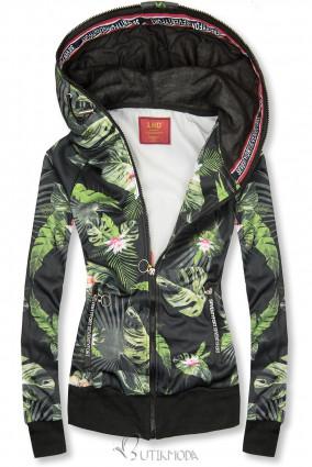 Kapuzensweatjacke mit floralem Allover-Druck schwarz/grün