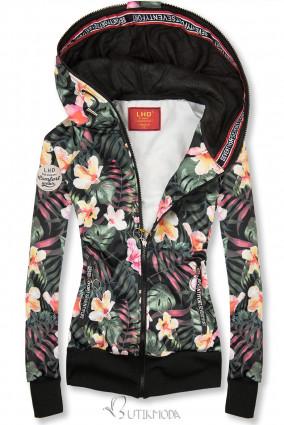 Kapuzensweatjacke mit floralem Allover-Druck schwarz/rosa