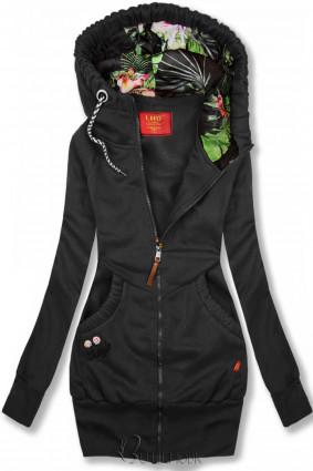 LHD Sweatjacke mit Blumen-Kapuze schwarz
