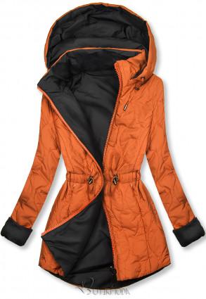Parkajacke in gesteppter Optik orange/schwarz