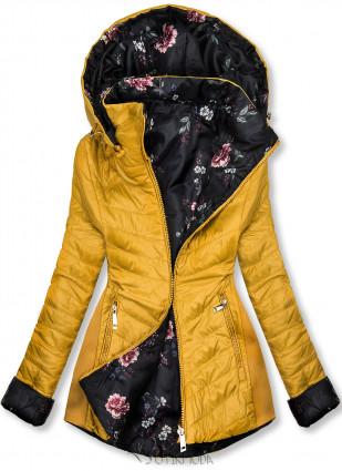 Jacke mit Blumenfutter gelb